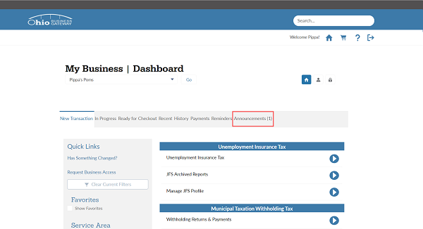 A screenshot of the Gateway Business Dashboard